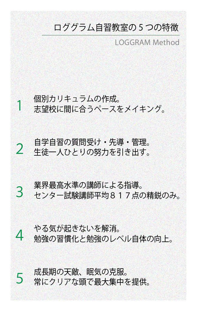 ロググラム自習教室の5つの特徴
